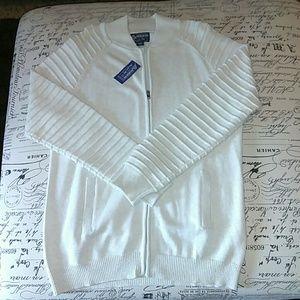 Beige colored American Rag zip up sweater